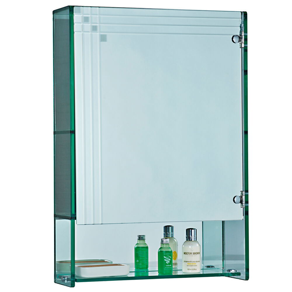 Marratimo glass wall mounted mirrored bathroom cabinet for Bathroom cabinets glass
