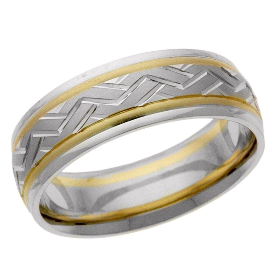 Platinum 14k 10k silver yellow white gold wedding band for Wedding rings silver and gold