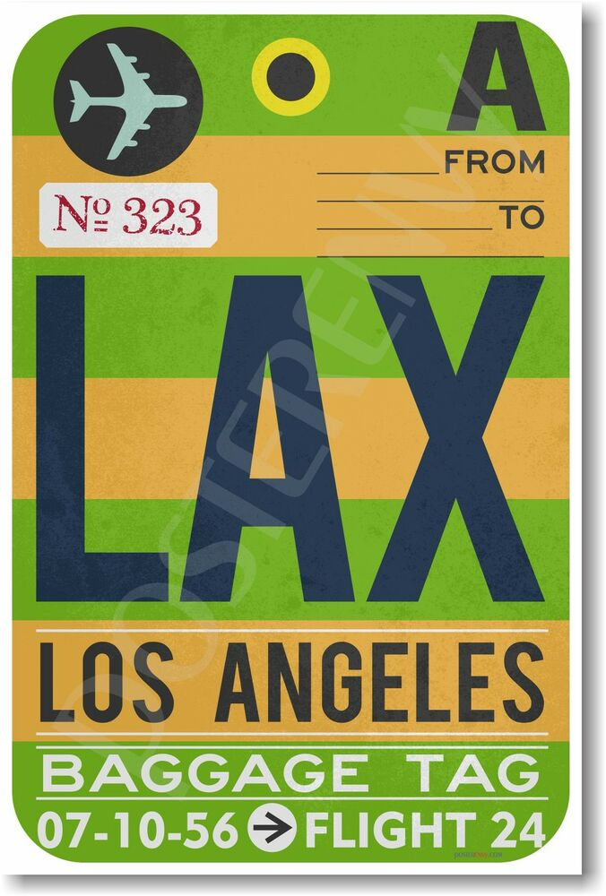 Offer Up Los Angeles >> LAX - Los Angeles Airport Baggage Tag - NEW Travel POSTER (tr483) | eBay