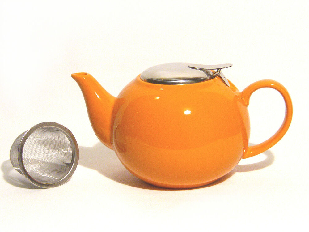 Mahamosa Orange Ceramic Infuser Teapot 24 Oz Cap W Stainless Steel Infuser Ebay