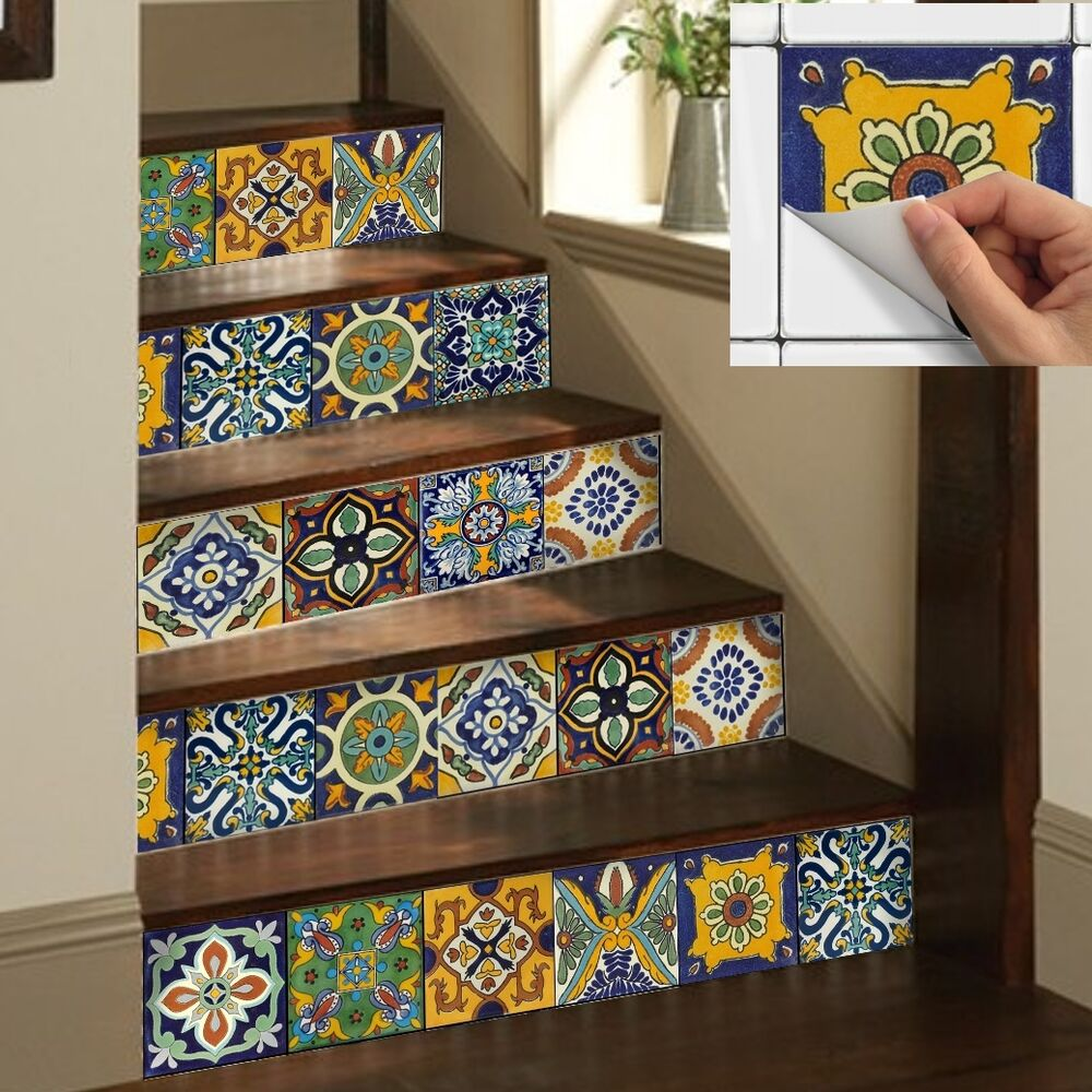 Wall Tile Sticker Kitchen Bathroom Decorative Decal Mexican Talavera Trmix002 Ebay