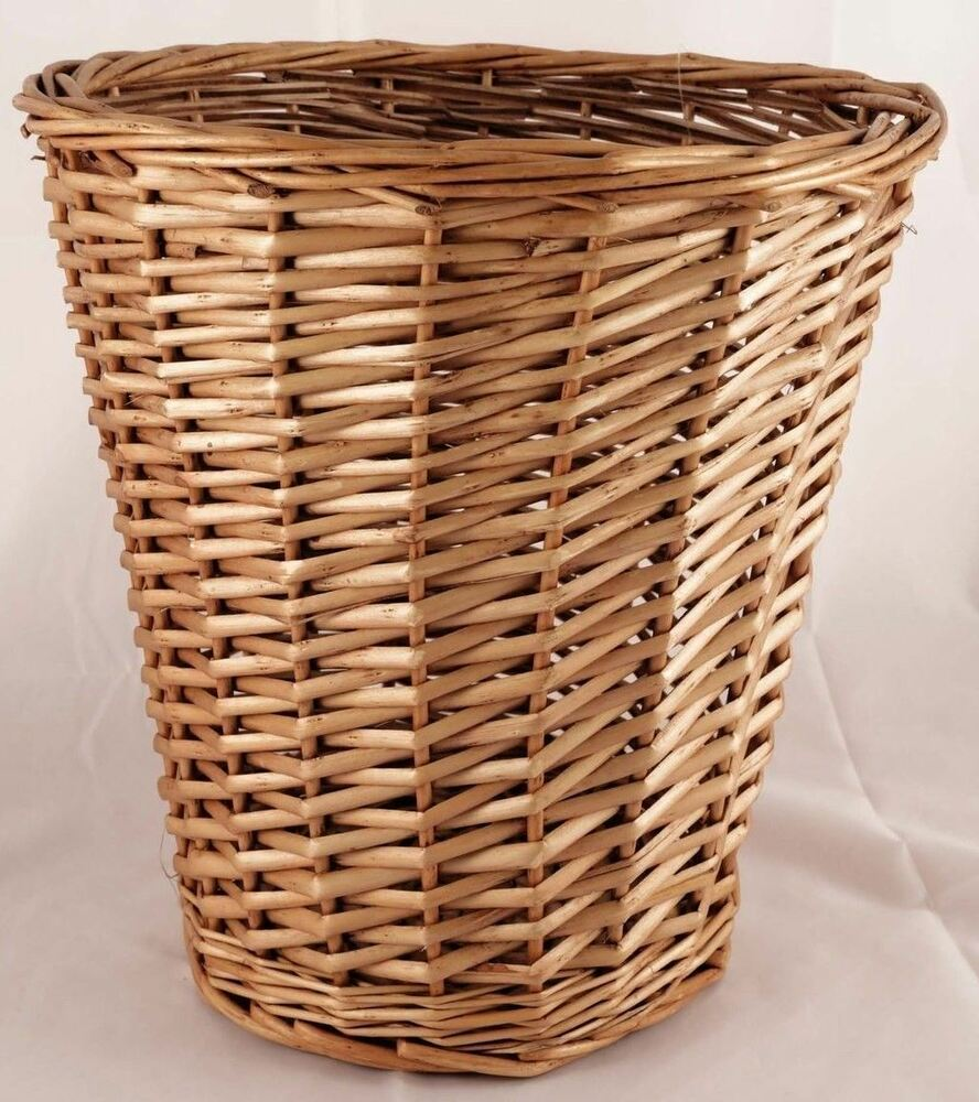 Brown wicker willow basket bin storage waste paper rubbish bin bedroom office ebay - Wicker trash basket ...