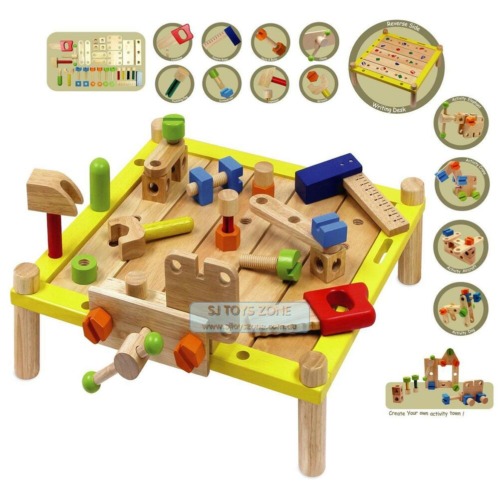 Wooden activity work bench writing desk with tools