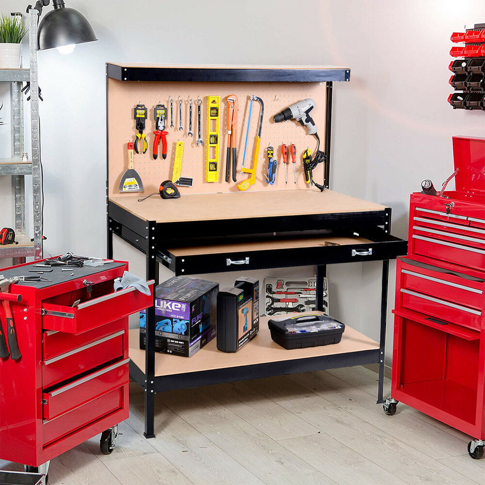 Work Bench Tool Storage Steel Frame Tool Workshop Table W Drawer And Peg Boar Ebay