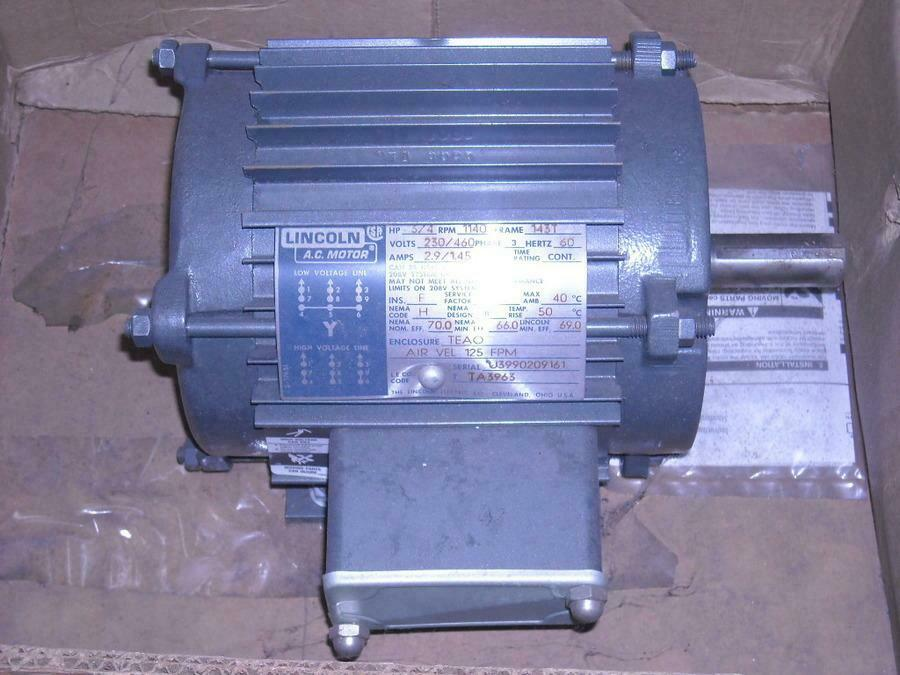 Lincoln 3 4 hp electric motor 230 460 for Dc motor 1 3 hp