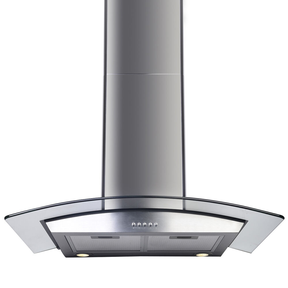 Glass Kitchen Hoods ~ Quot range hood kitchen wall mount stainless steel glass