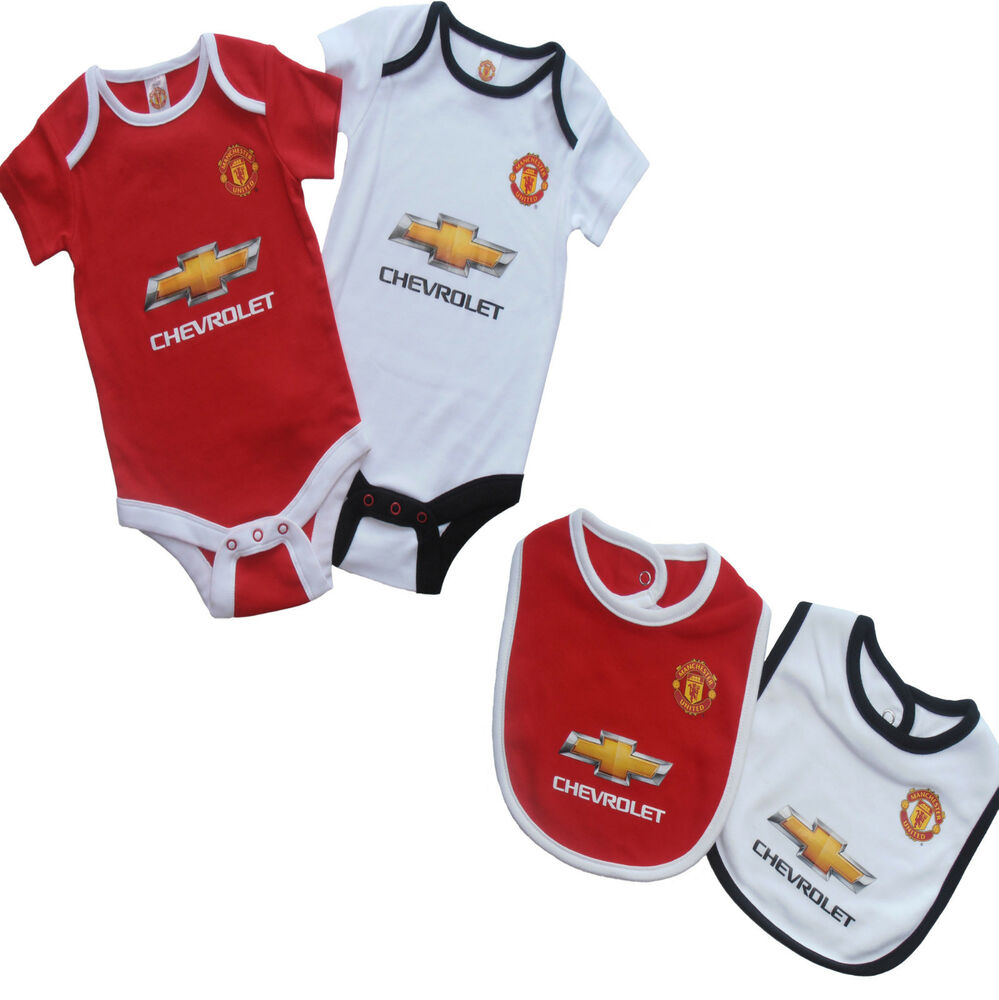 Manchester united fc 2015 babies body pram suit short sleeve baby grow vest x 2 ebay