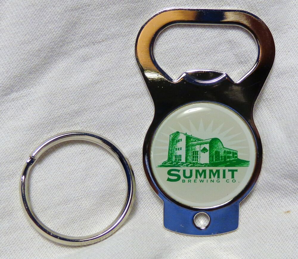 summit brewing co key chain bottle opener metal green white logo new ebay. Black Bedroom Furniture Sets. Home Design Ideas