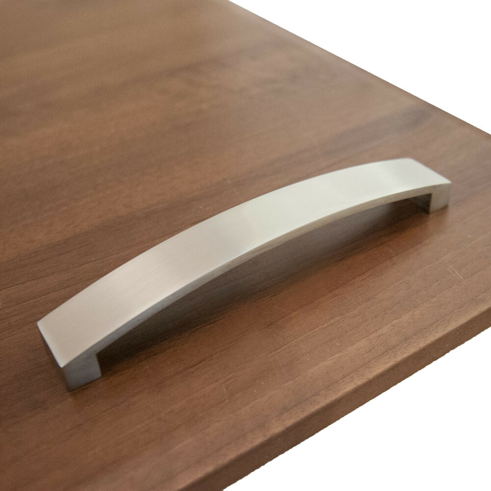 Details about bow handle kitchen cabinet door drawer handles brushed chrome curved flat width
