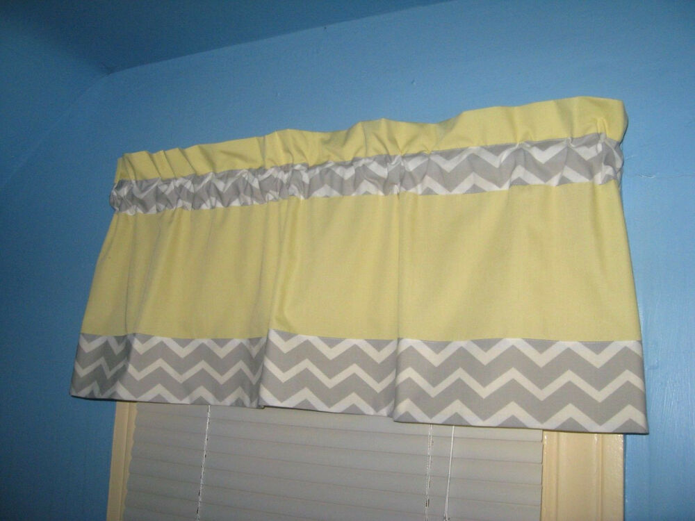 Gray Valances With White Trim : Lined handmade yellow with grey white chevron window