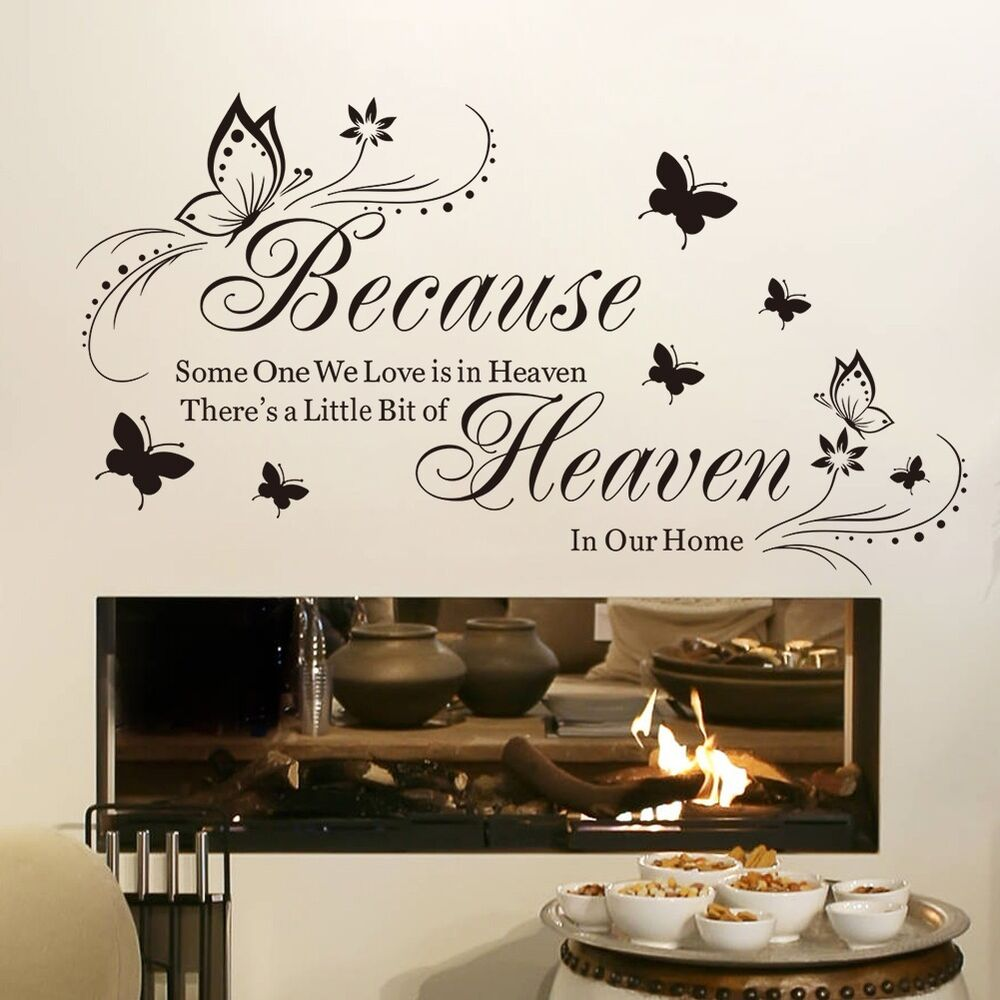 Wall Art Stickers Heaven : Butterfly someone we love in heaven vinyl quote wall