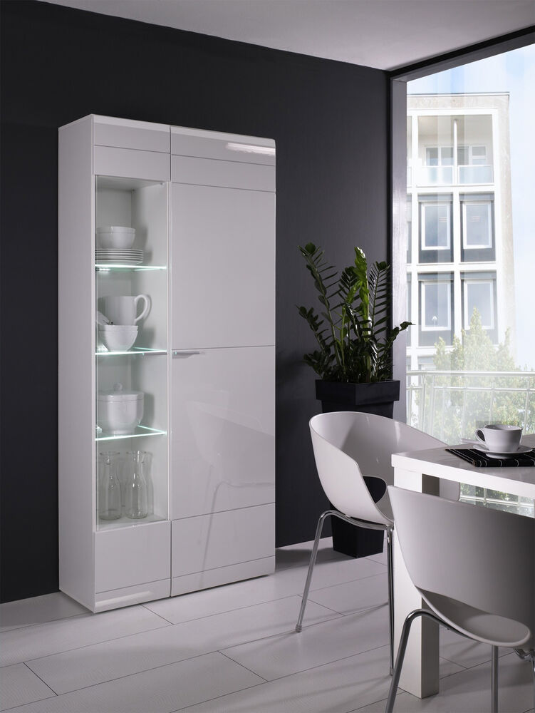 vitrine weiss hochglanz neu woody 16 00233 4054574007572 ebay. Black Bedroom Furniture Sets. Home Design Ideas