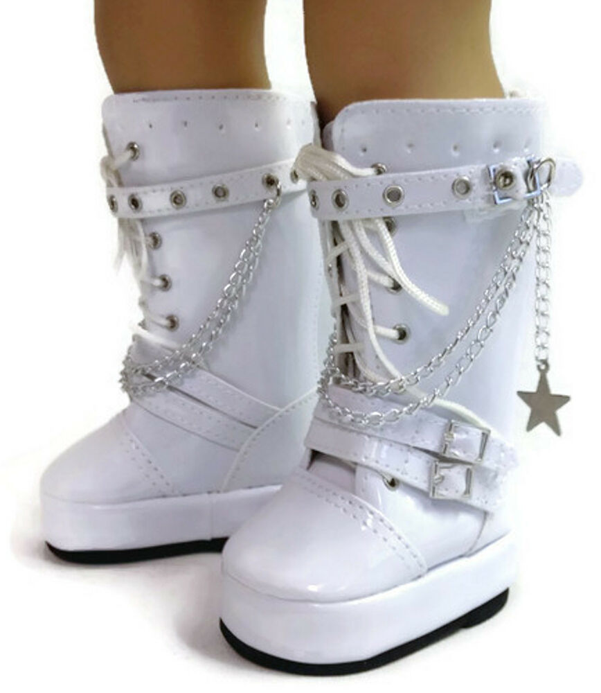 White Go Go Boots With Chains Shoes Made For 18 Quot American Girl Doll Clothes Ebay