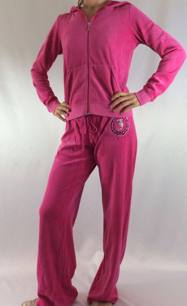 Juicy Couture Velour Set Tracksuit Hoodie Pants Pink Size ...