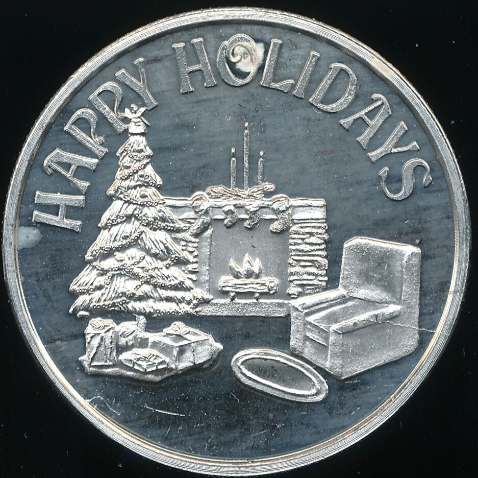 Happy Holidays Christmas 1 Troy Oz 999 Fine Silver Round