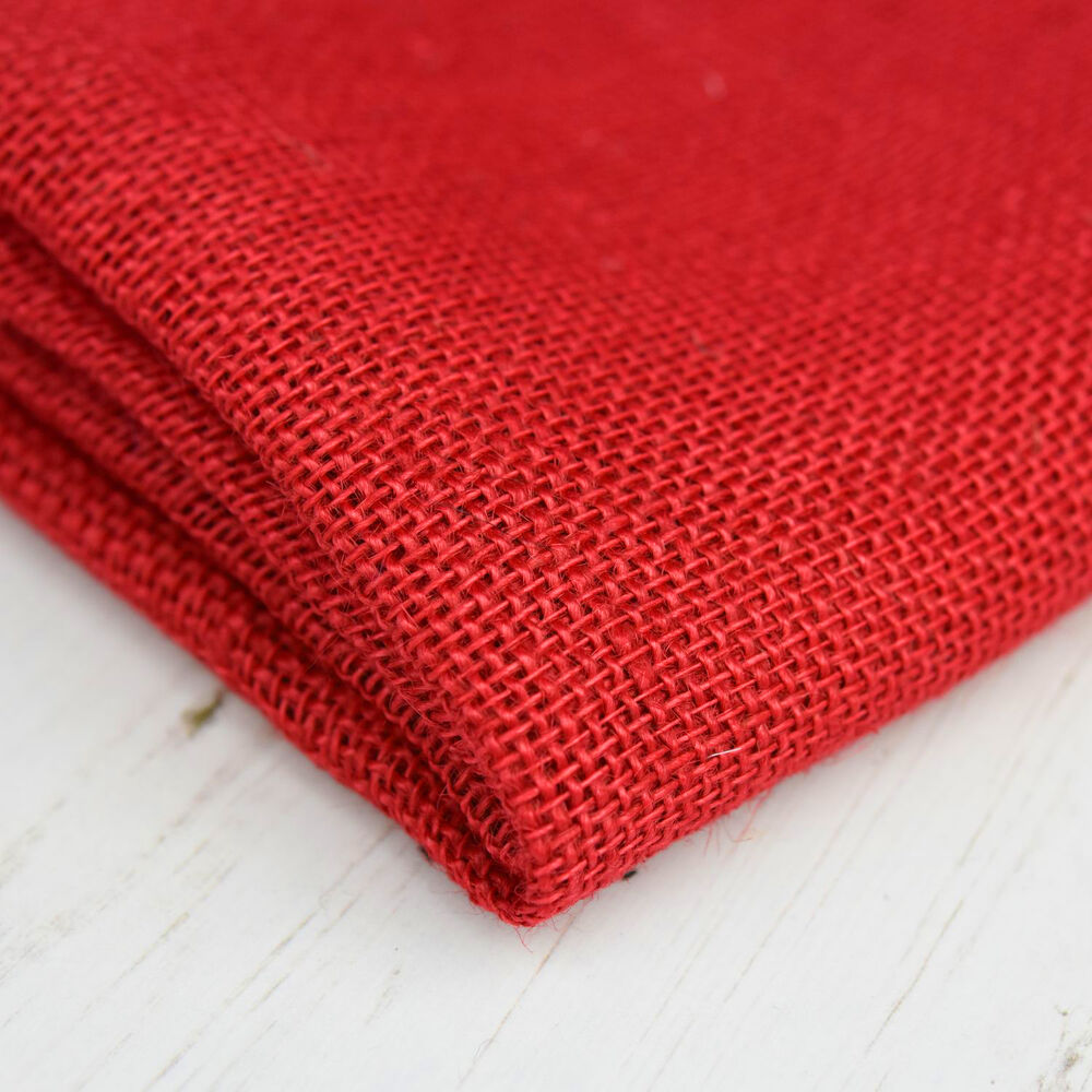Red hessian jute burlap fabric material cloth craft sacks for What is burlap material
