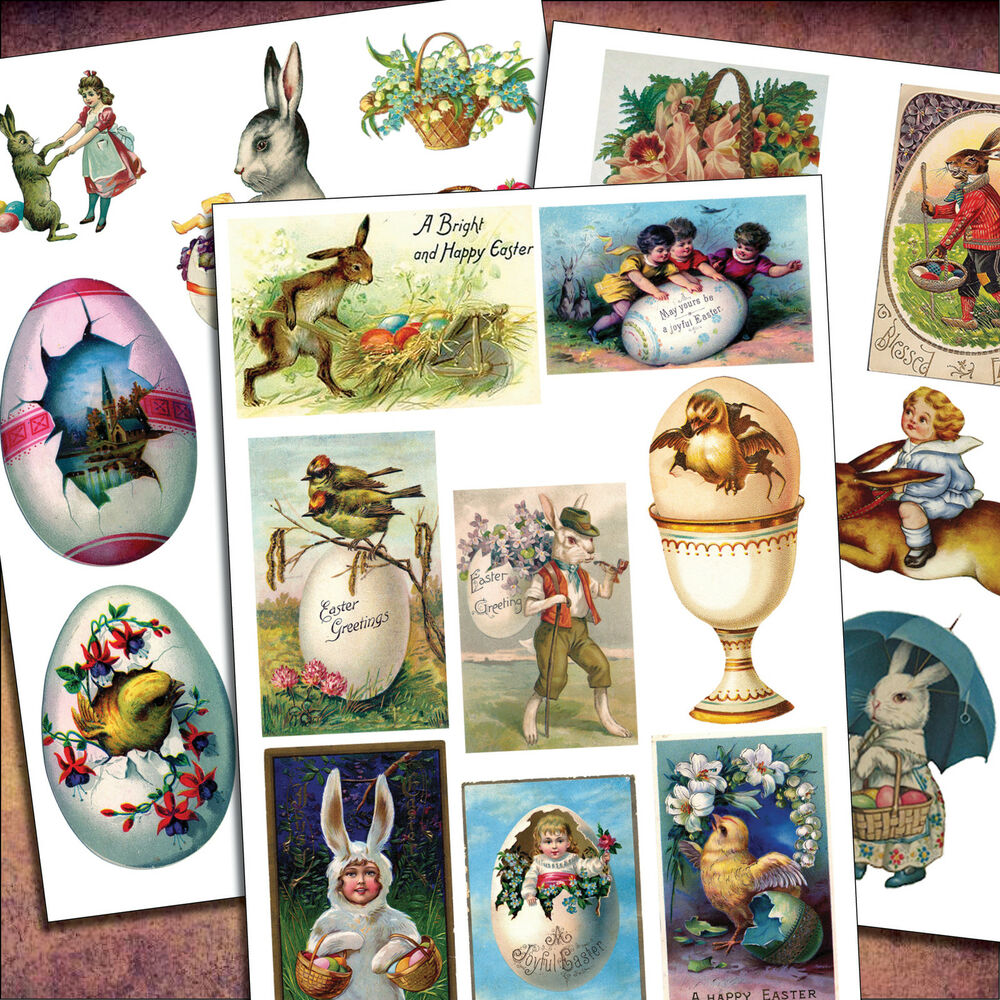 23 Victorian Easter vintage sticker decal decoupage up ...