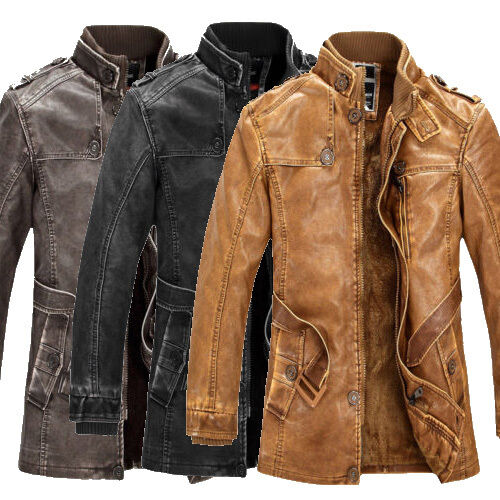 VINTAGE Mens PU Leather Coat Winter Jacket Military Army ...