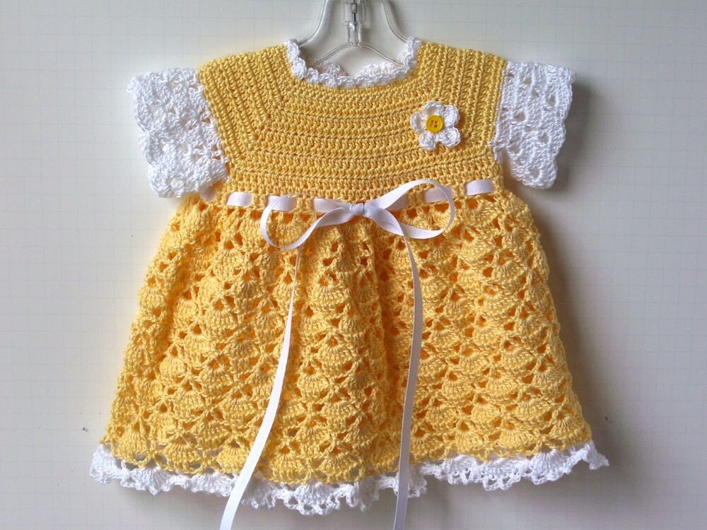 Crochet Yellow And White Baby Girl Dress Size 6 Months Ebay