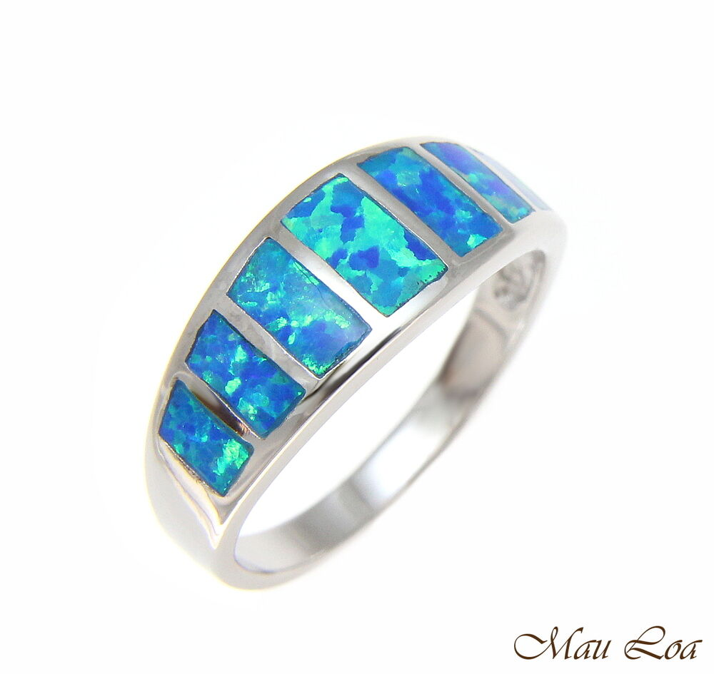 925 Sterling Silver Rhodium Women Men Blue Opal Ring Size 5 10  eBay