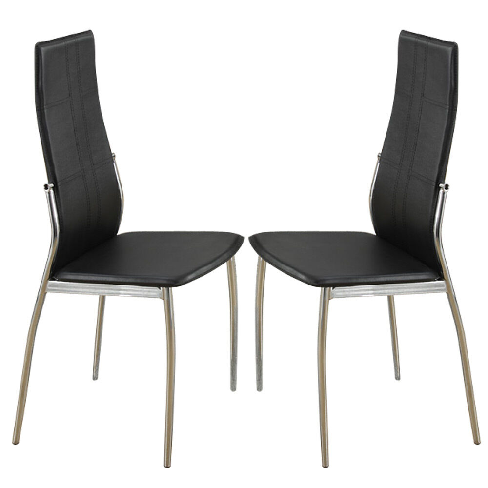 Set of 2 modern dining side chairs chair metal frame legs for Black leather dining chairs