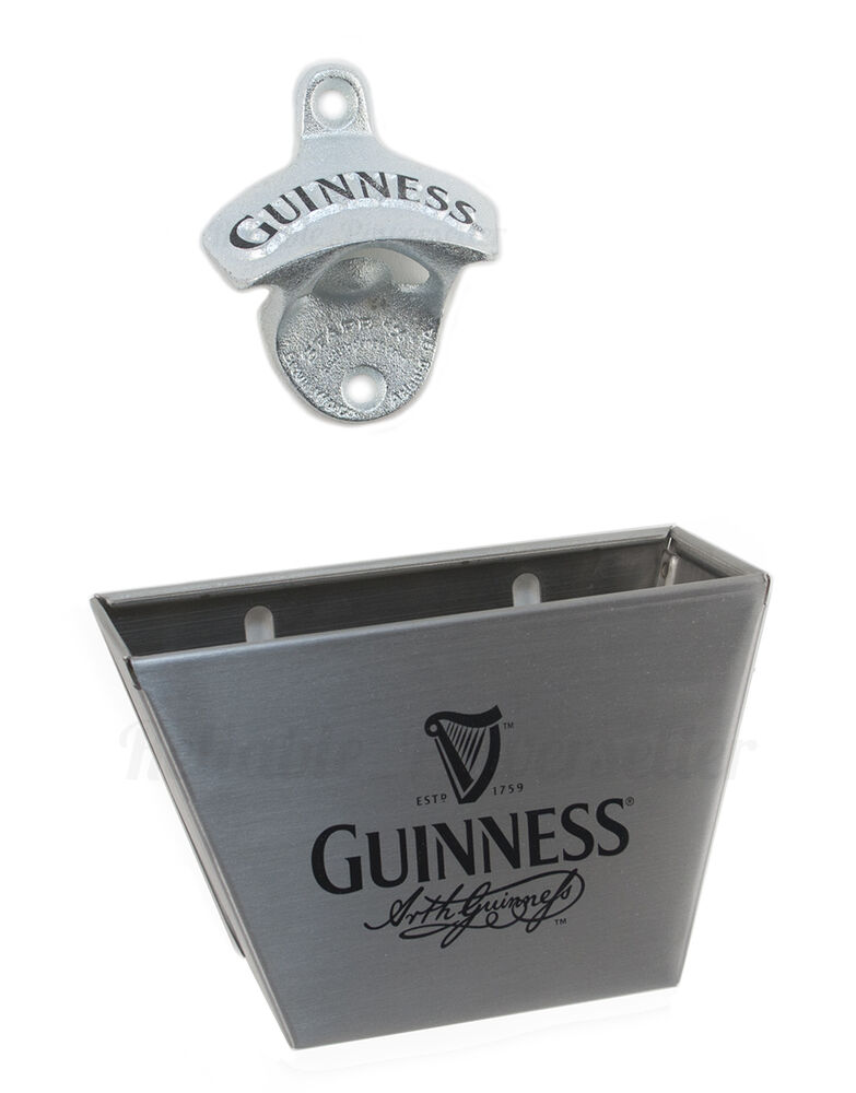 Guinness wall mount bottle opener steel cap catcher new ebay - Wall mounted beer bottle opener cap catcher ...