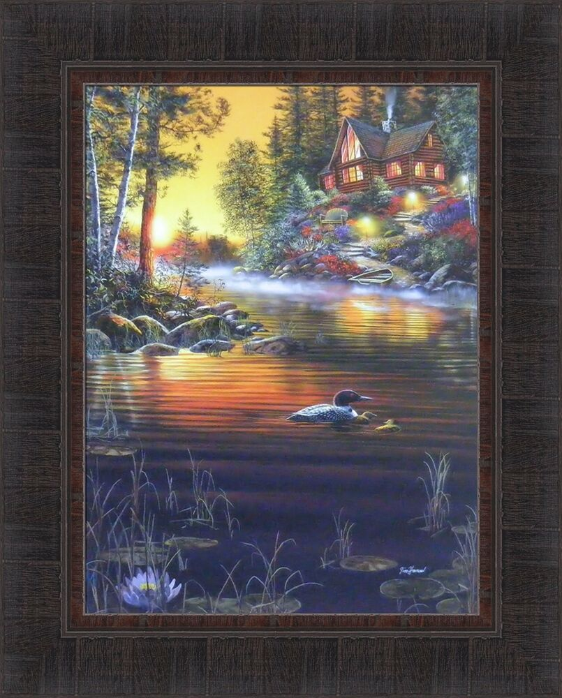 Garden Hideaway By Jim Hansel 17x21 Log Cabin Lake Flowers