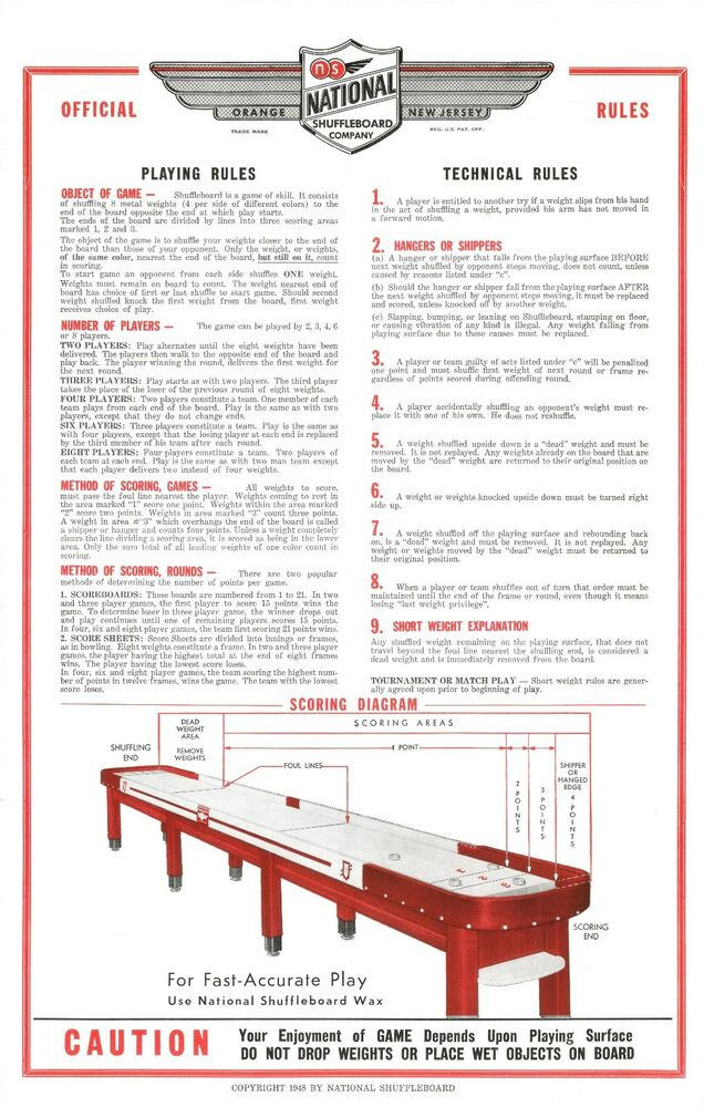 Restored National Shuffleboard Table Rules Posters Set