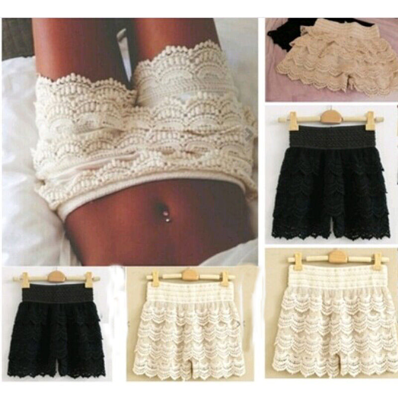 X91081H629 Short Glitter Lace Bodice Homecoming Dress with ... |Black Tiered Lace Shorts