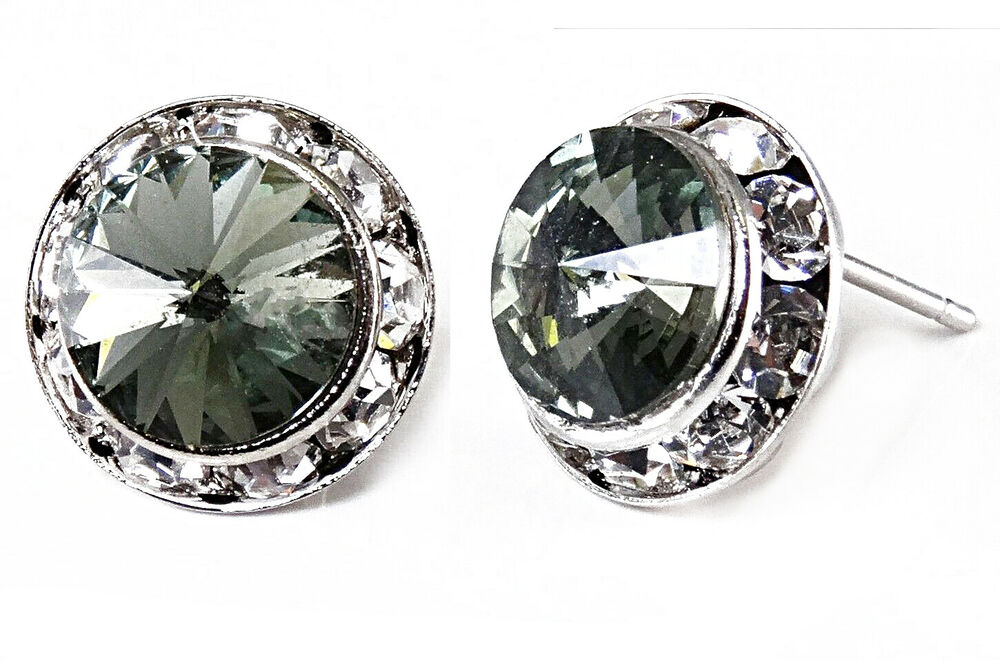 Black Diamond Genuine Austrian Crystal Silver Rhodium Post Earrings 1 2""