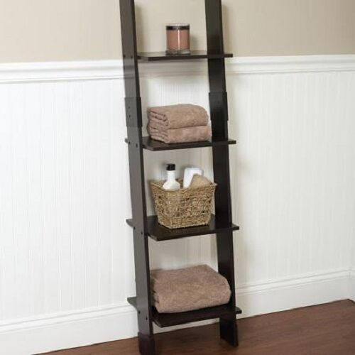 Bathroom Leaning Ladder Shelf 4 Tier Display Linen Tower Wood Espresso Decor New Ebay