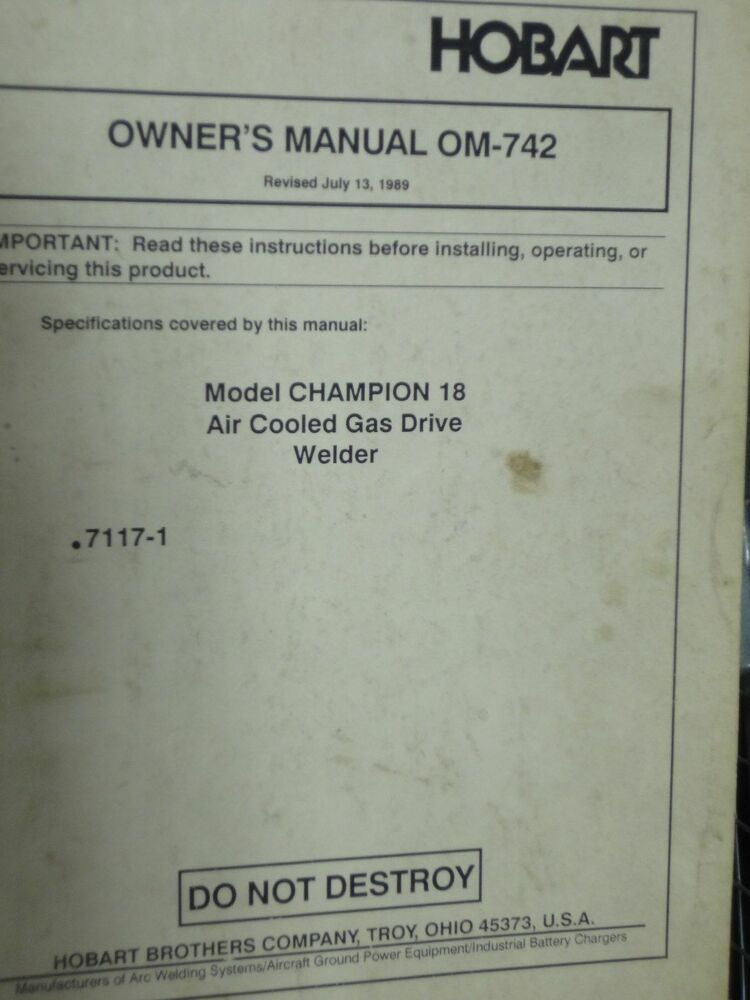 Hobart C44 Service Manual