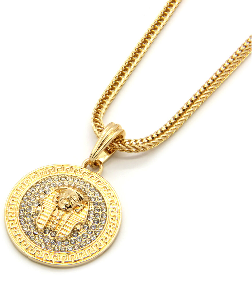"Mens Medallion Pharaoh Gold Clear 24"" Franco Chain Pendant ..."