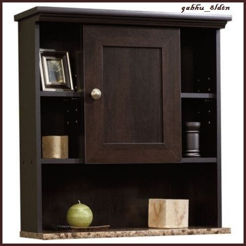 Bathroom wall mount cabinet medicine cubby storage wood shelf organizer espresso ebay for Espresso bathroom medicine cabinet