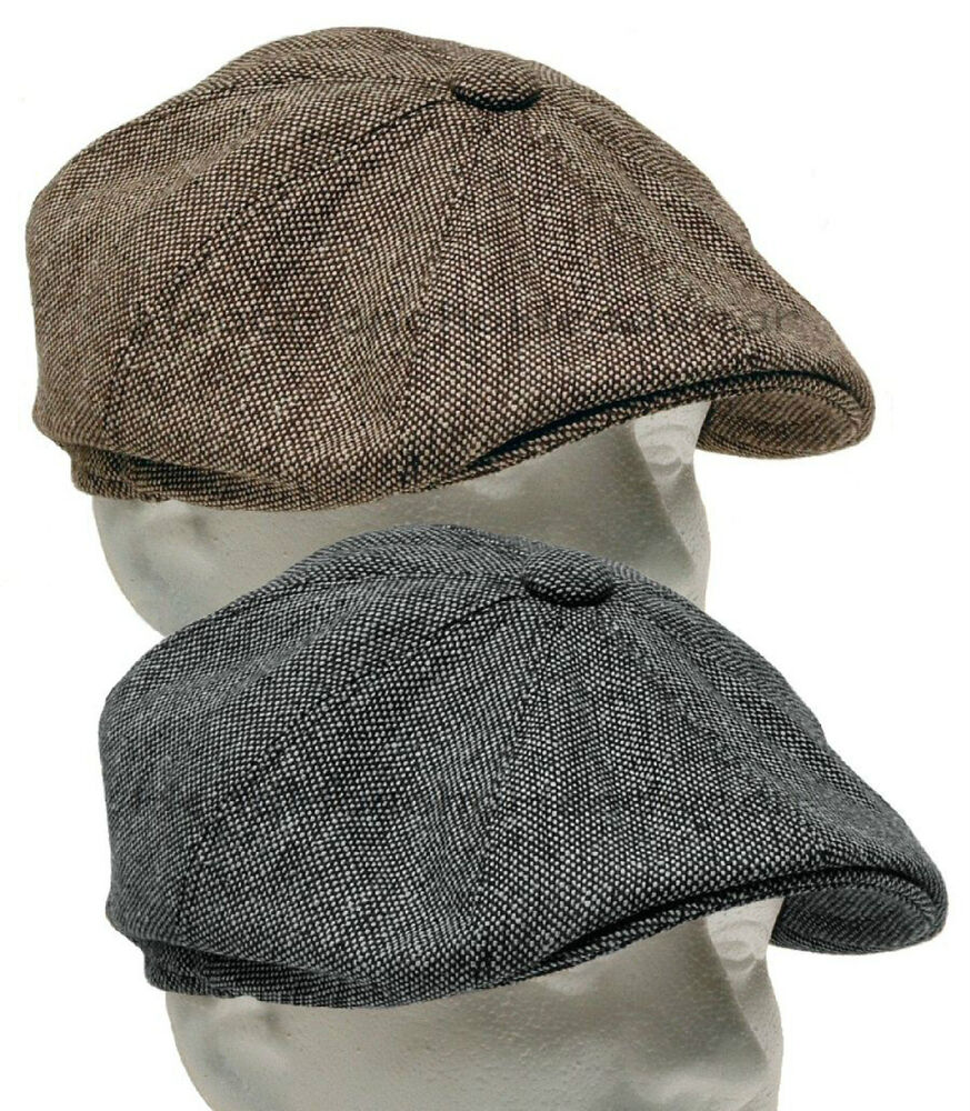 Tweed Gatsby Newsboy Cap Men Ivy Hat Wool Golf Driving