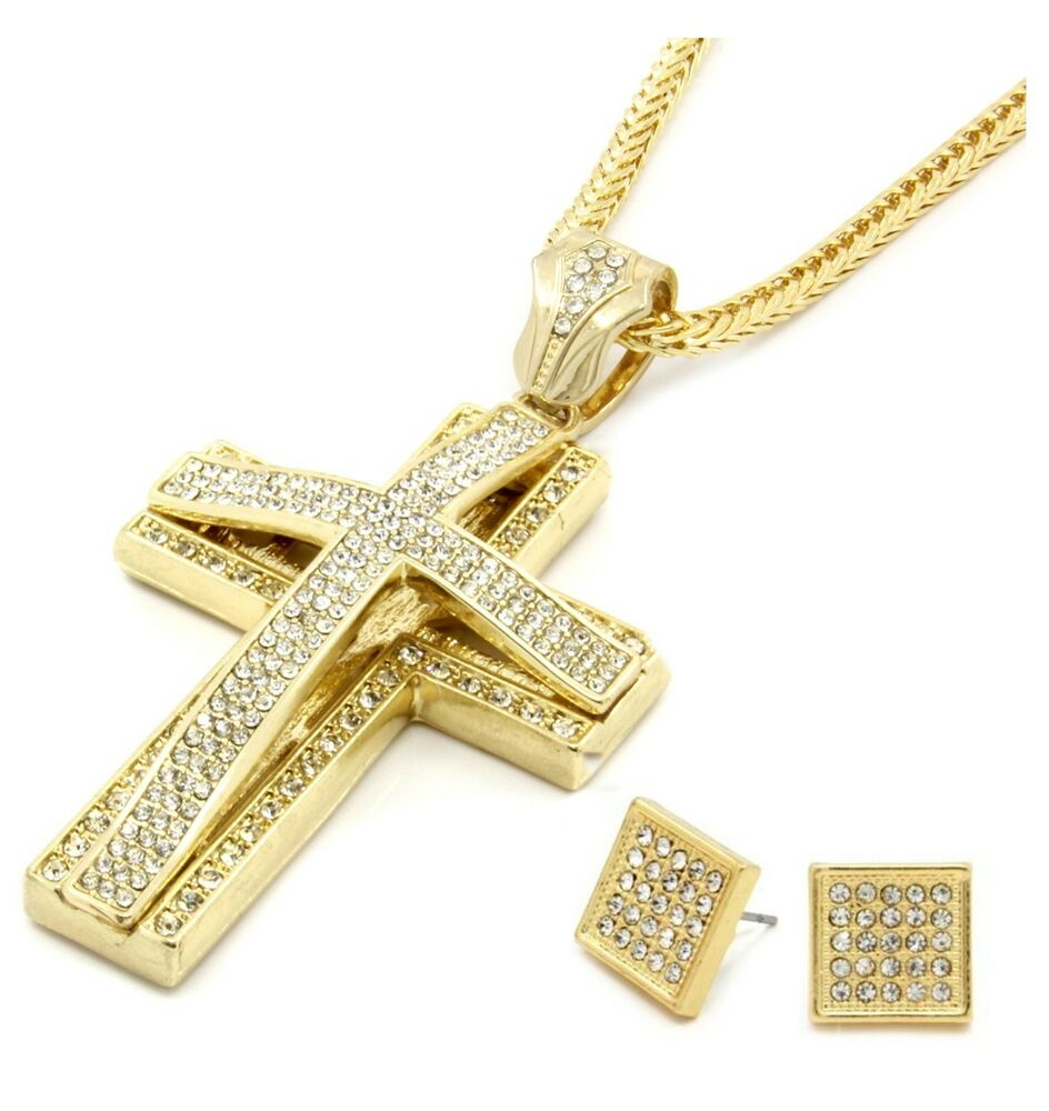 mens large two cross gold iced out pendant 36 inch