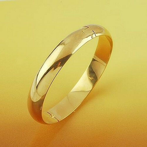 Simple 18k Plain Yellow Gold Filled GF Thick Solid Women's ...