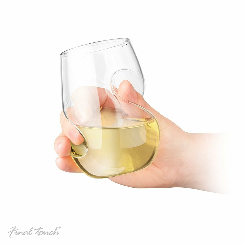 Final touch 4x conundrum white wine aerating glasses gift curved stemless 266ml ebay - Hand blown stemless wine glasses ...