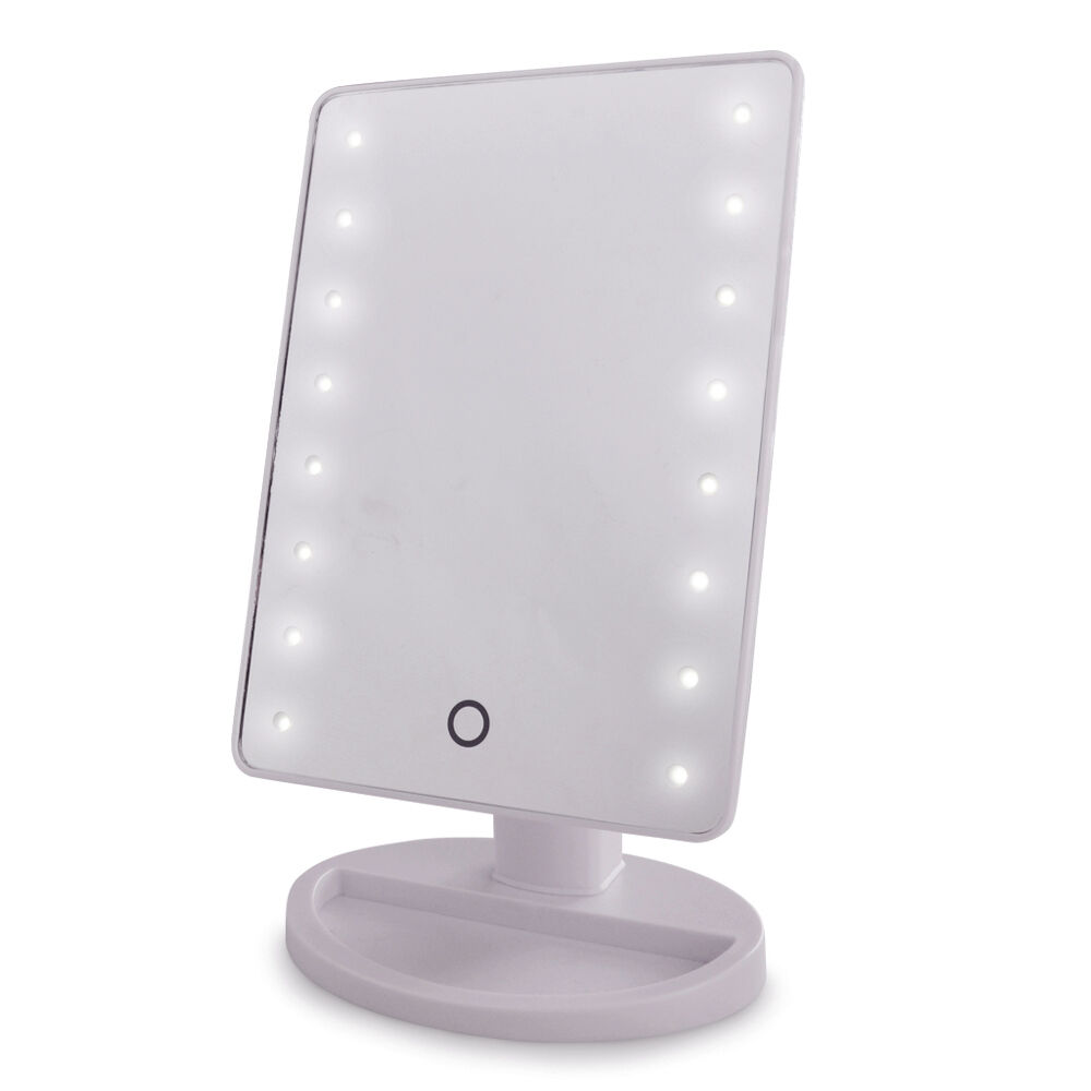 Modern Free Standing Battery Operated Cool White LED Lights Touch Vanity Mirr
