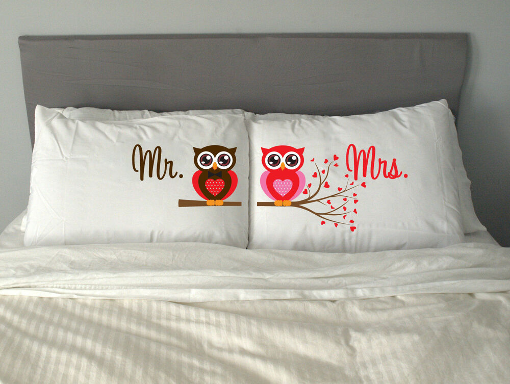 2nd Wedding Anniversary Gift Ideas For Couples : ... MRS OWL Pillow Case Gift Valentines Day Wedding Anniversary m9 eBay