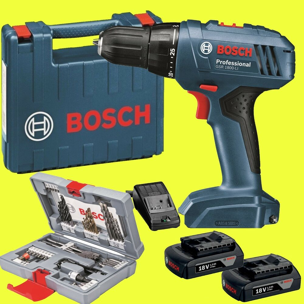 bosch akku schrauber gsr 1800 li 18 volt akkuschrauber bit set 43 ebay. Black Bedroom Furniture Sets. Home Design Ideas