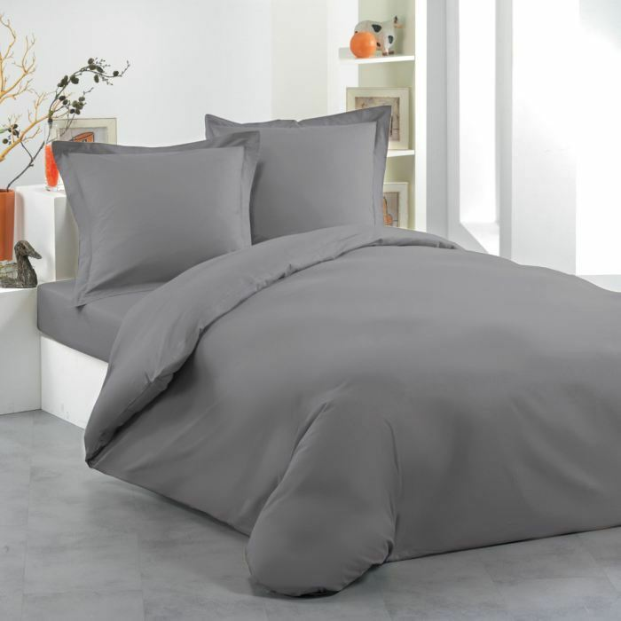 housse de couette unie 220x240cm gris souris 100 coton 57 fils cm ebay. Black Bedroom Furniture Sets. Home Design Ideas