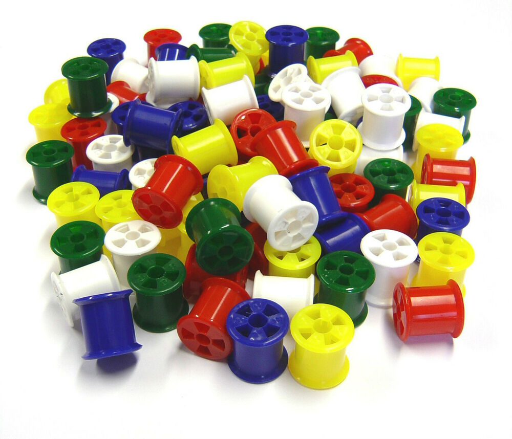 Plastic coloured cotton reels 20 50 100 modelling for Plexiglass arts and crafts