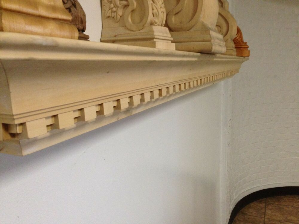 5 39 fireplace dentil mantel shelf poplar wood ebay. Black Bedroom Furniture Sets. Home Design Ideas