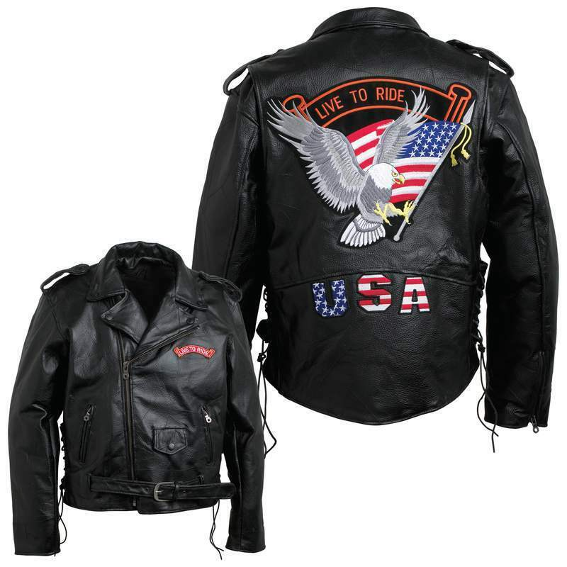 Mens Motorcycle Leather Jacket W Eagle Usa Amp Live To Ride