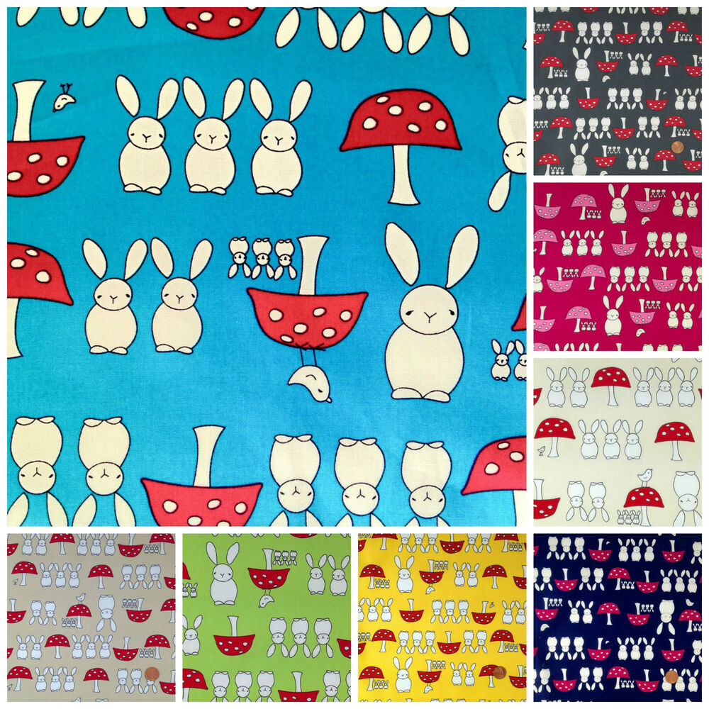 Bunny toadstools childrens 100 cotton poplin fabric 8 for Cotton fabric for children s clothes