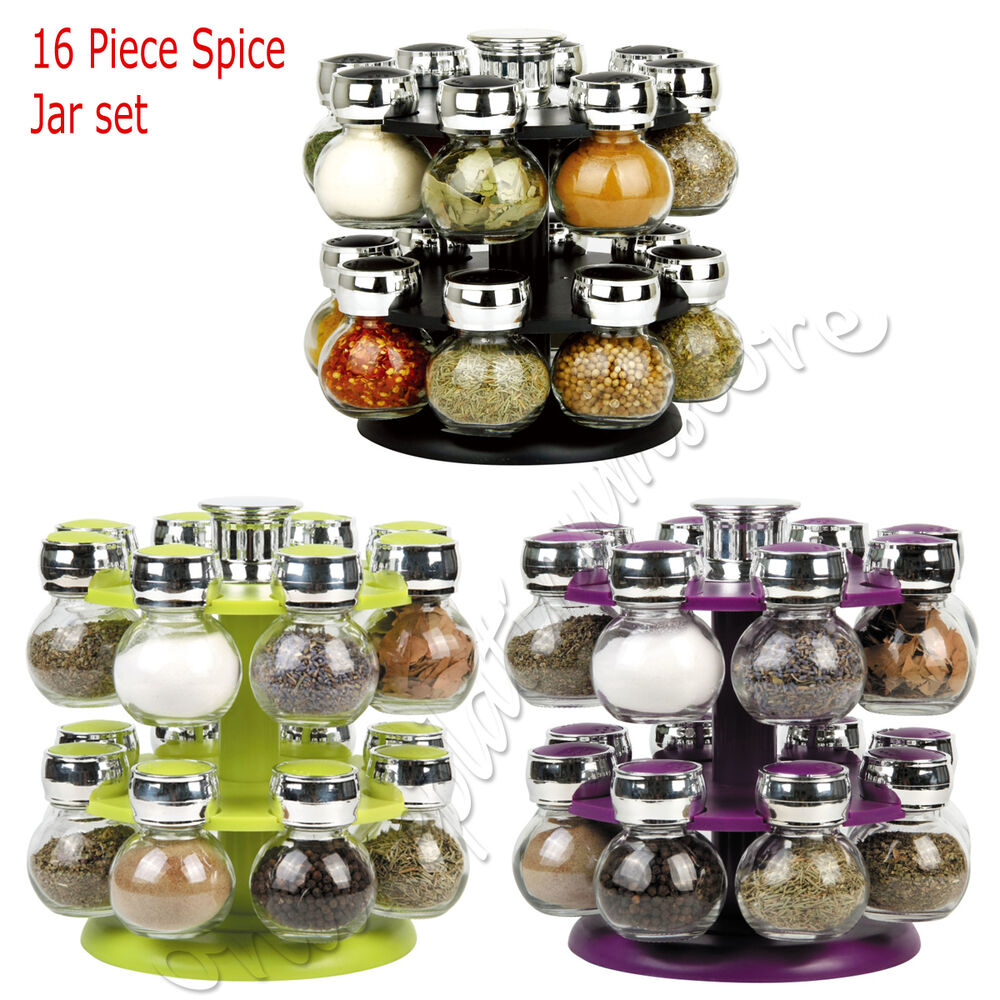 8 and 16 pcs glass spice jar set revolving rack modern for Signoraware organise your kitchen set 8 pieces
