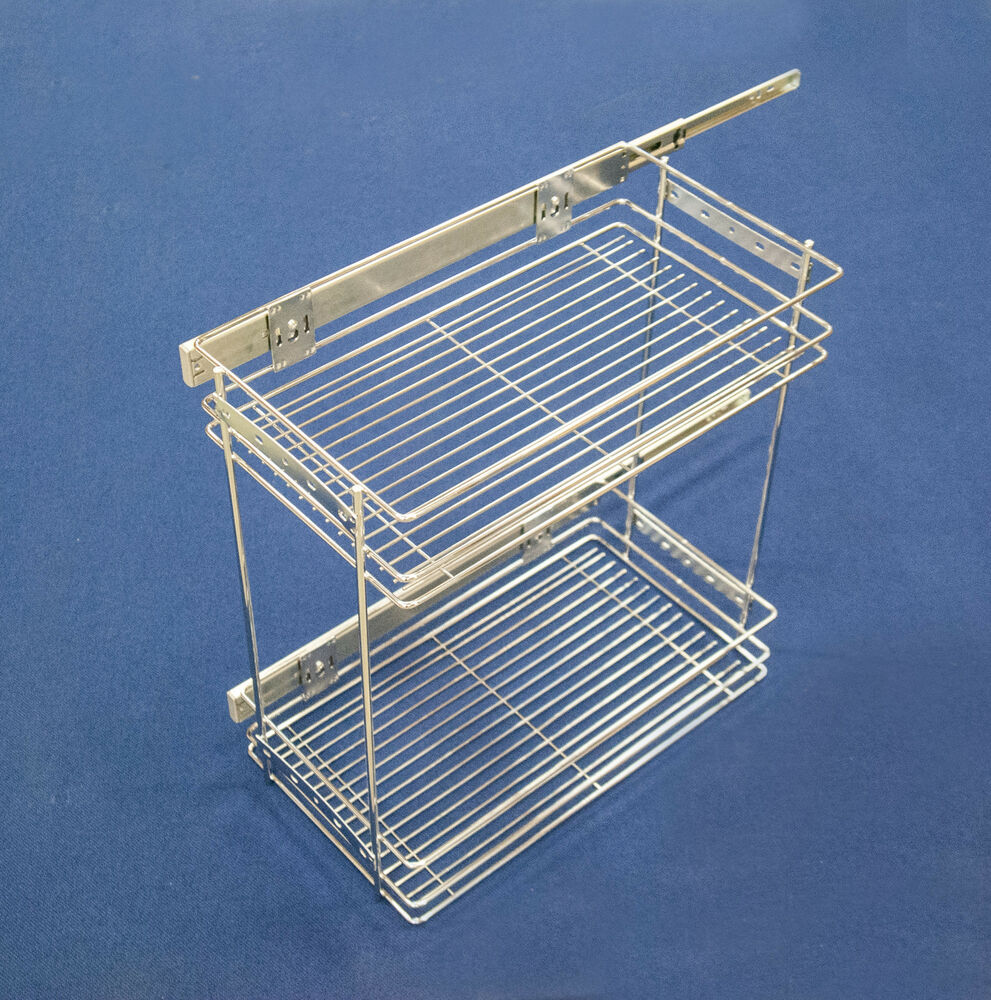 PULL OUT 2 TIER WIRE BASKET 300MM SOFT SELF CLOSE KITCHEN STORAGE ...