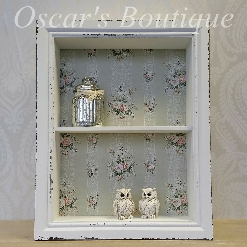 shabby chic vintage style wooden wall display cabinet shelf unit white pink ebay. Black Bedroom Furniture Sets. Home Design Ideas
