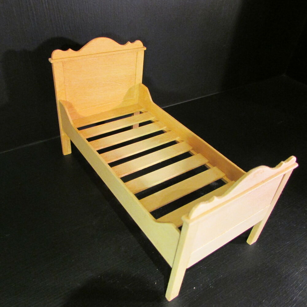Single Bed Wooden Doll House Miniature 1 12th Scale Ebay
